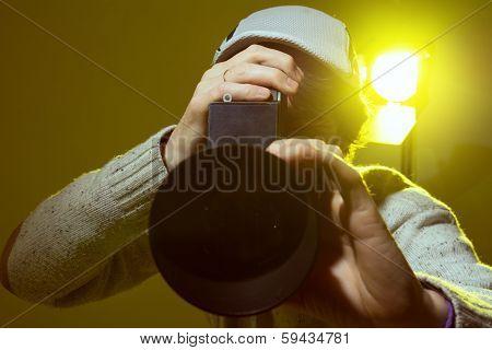 Man With Retro Camera. Cinema Operator