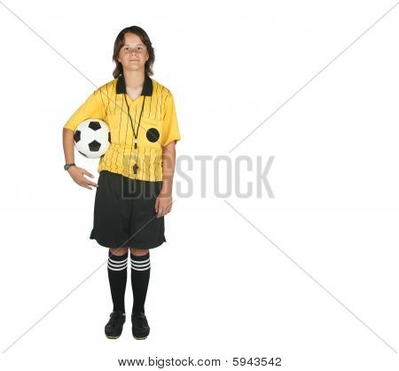 Female Referee With Soccer Ball