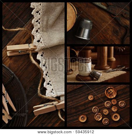 Rustic collage includes closeup images of antique sewing supplies (wooden spools, scissors, thimble, buttons) and homespun fabric with clothespins and twine on dark wood background.
