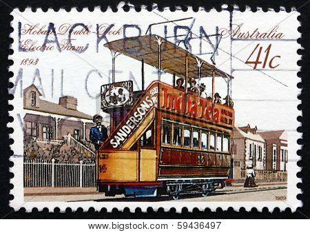 Postage Stamp Australia 1989 Double-deck Electric Tram, Hobart