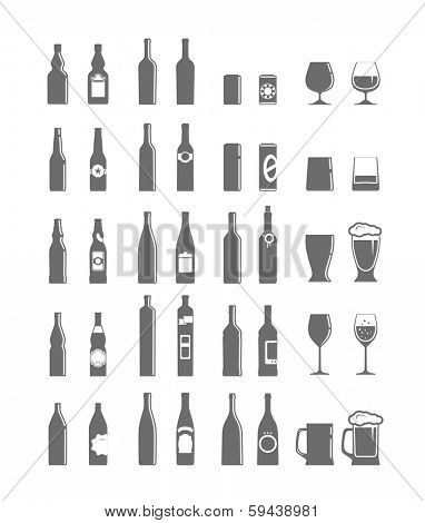 Different bottles and glasses set isolated on white