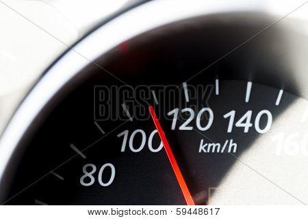 Car speedometer.