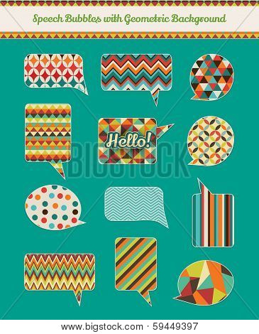 Speech Bubbles with Texture Geometric Grunge Background