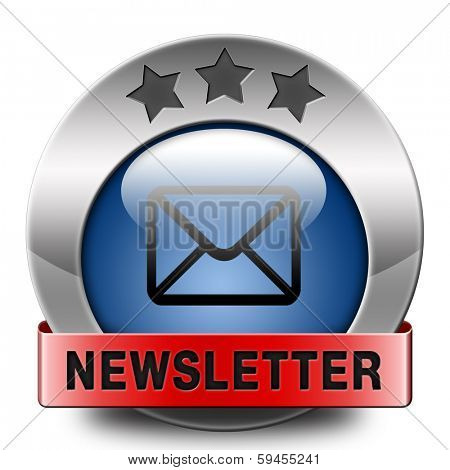 Latest newsletter with hot breaking daily news. Icon, button or sign with new items.