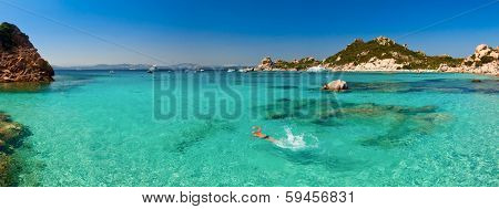 Panoramic view of Cala Corsara cove at Maddalena Archipelago in Sardinia