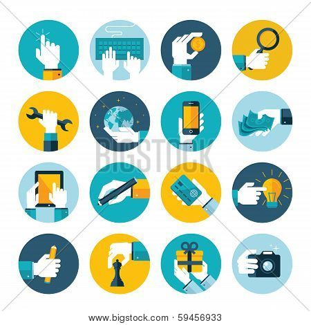 Modern flat icons vector collection of hand using a computer, mobile phone, digital tablet, camera,
