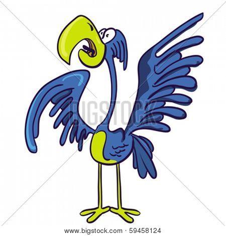 cartoon illustration of screaming bird