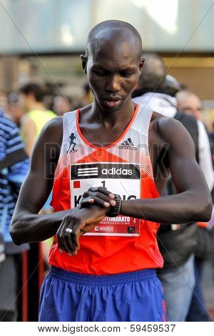 BARCELONA - FEB,2: Kenyan Wilson Kipsang, Current world record holder in the marathon before Granollers Half Marathon at Granollers on February 2, 2014 in Barcelona, Spain