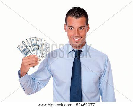 Handsome Adult Guy Holding Up Cash Money