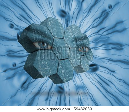 Eyes on abstract screen against blue immune system
