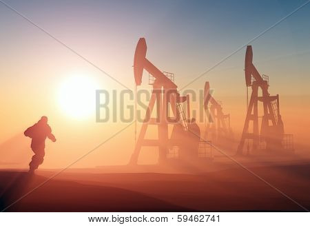 Worker produce oil.