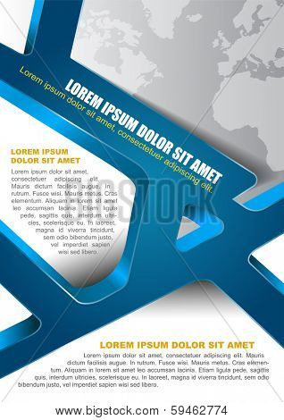 Abstract background for brochure, flyer and poster with 3d blue stripes and place for content.