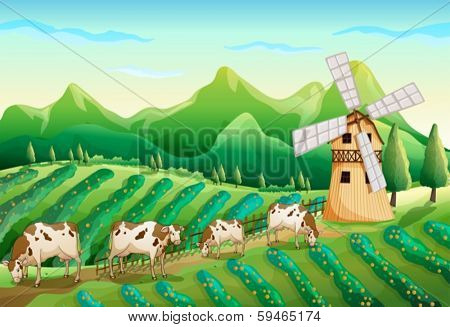 Illustration of a farm with cows