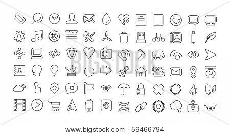 Web line icon set. Thin icons