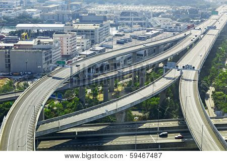 aerial view of the city overpass in early morning, HongKong,Asia China