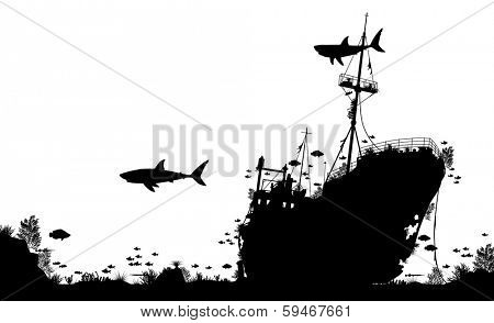 Silhouette foreground of coral, sharks and fish around a sunken boat