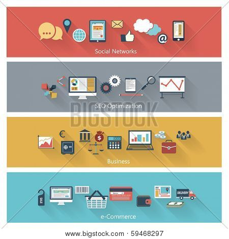 Set of modern concepts in flat design with long shadows and trendy colors for web, mobile applications, seo optimizations, business, social networks, e-commerce etc. Vector eps10 illustration
