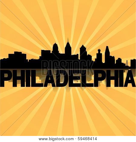 Philadelphia skyline reflected with sunburst illustration