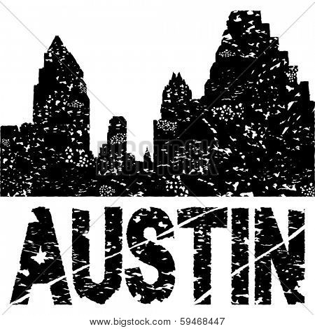 Grunge Austin skyline with text vector illustration