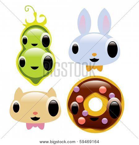 flavor set: peas, donut, kitten, bunny
