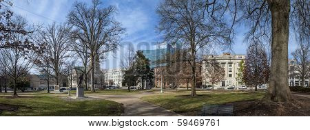 180 degree panorama of downtown area of raleigh north carolina
