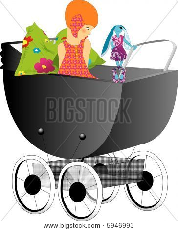 Litlle girl in a stroller/perambulator