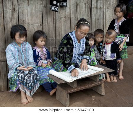 Lessons With Children Ethnic Group Meo, Asia