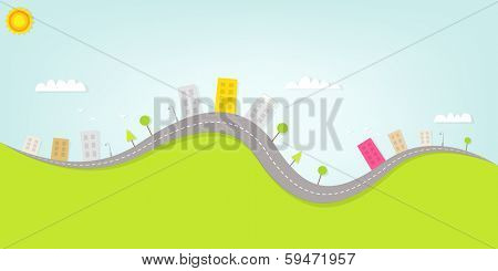 cartoon urban landscape