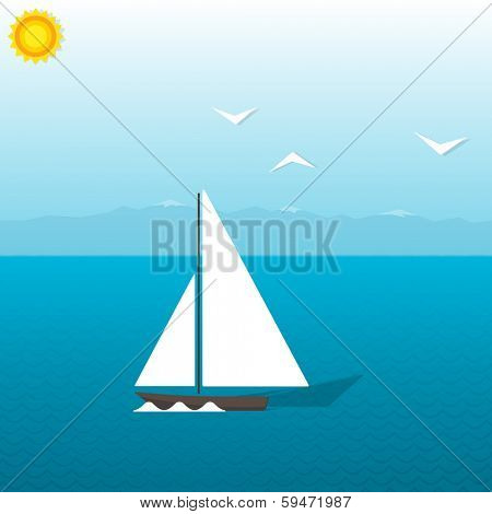boat at sea on background of mountains