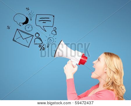 communication concept - woman with megaphone over blue background