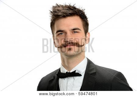 Young businessman with fancy mustache and black tie isolated over white background