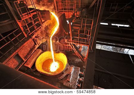 Liquid iron inside of plant and trains