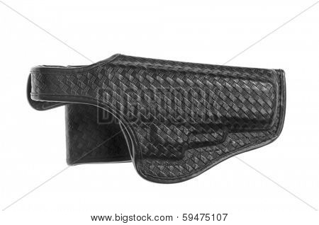 Black leather holster with stamped decoration, isolated over white
