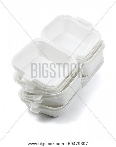 Stack of Open Styrofoam Boxes on White Background