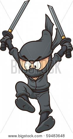 Cartoon ninja jumping. Vector clip art illustration with simple gradients. All in a single layer.