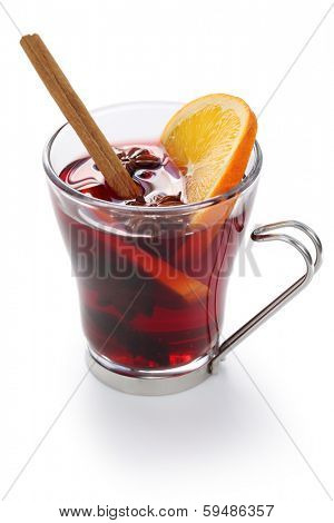 mulled wine, hot punch isolated on white background