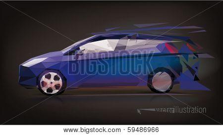 Blue hatchback in motion. Low-poly triangular vector illustration
