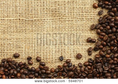 Coffee Beans On Juta Background