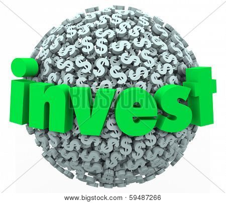 Invest Word Dollar Sign Symbols Stock Market 401K Investment
