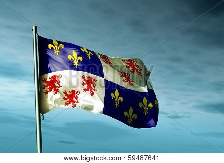 Picardy (France) flag waving on the wind