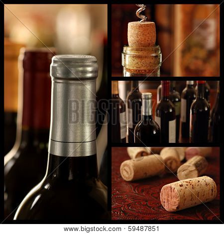 Wine collage includes images of unopened bottles of fine wine and closeups of corks with shallow dof.