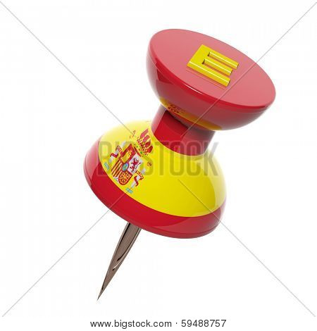3D pushpin with flag of Spain isolated on white