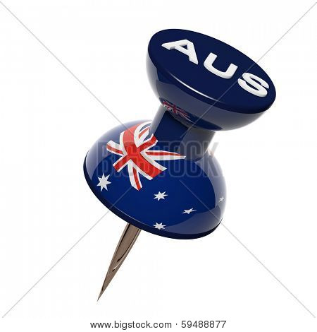 3D pushpin with flag of Australia isolated on white