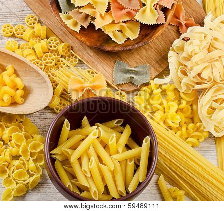 Pasta On  Wooden Table