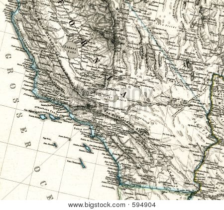 1875 Antique Map Southern California