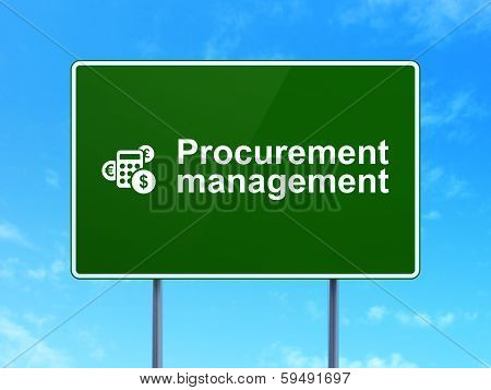 Business concept: Procurement Management and Calculator on road sign background