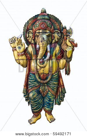 Hindu God Ganesh Over A White Background