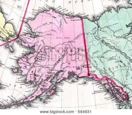 1870 Antike Karte Alaska