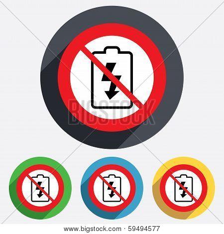 No Battery charging sign icon. Lightning symbol.