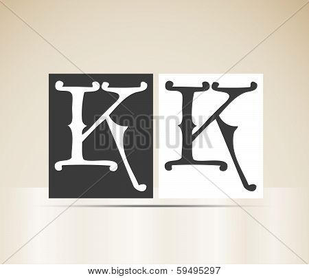 Vector letter K sign alphabet